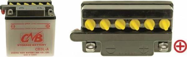 12 V Batterie DIN 50312, 3 Ah / 32 A, +Pol = rechts, Entlüftung links