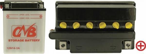 12 V Batterie DIN 51411, 14 Ah / 128 A, +Pol = rechts, 12N14-3A, Entlüftung links, Pole würfelförmig, auch für MTD, Murray, Sears, u.a.