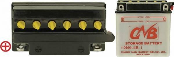 12 V Batterie DIN 50914, 9 Ah / 85 A, +Pol = links, Entlüftung rechts, Pole flach mit Verschraubung, für kleine Aufsitzmäher Standard Qualität 12N9-4B-1