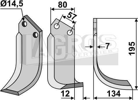 Bogenmesser RS 195x134 für Celli Fräsen