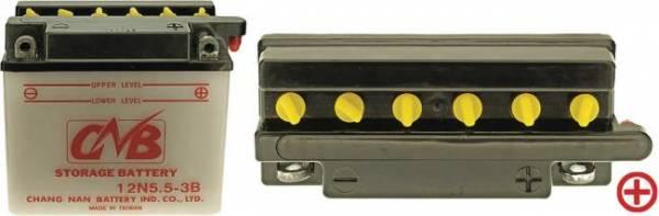 12 V Batterie DIN 50611, 5.5 Ah / 60 A, +Pol = rechts, Entlüftung rechts für MZ Roller/ Motorrad ETZ-125, 150, 250, 251, 301