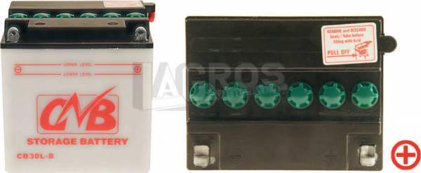 12V Batterie, 30 Ah / 180A Startleistung, Entlüftung rechts