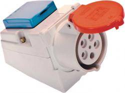 CEE-Kombi-Wanddose 5polig (400V/16A) mit Schutzkontaktsteckdose (230V/16A)