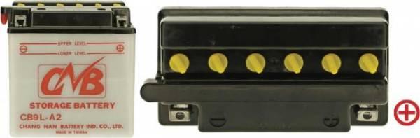 12 V Batterie DIN 50916, 9 Ah / 124 A, +Pol = rechts, Entlüftung links, hohe Startleistung für MZ Roller/ Motorrad 125 SM/SX
