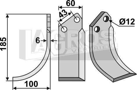 Hackmesser LS 185x100 für Agria Motorhacken