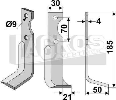 Hackmesser RS 185x50x21 für Agria Motorhacken