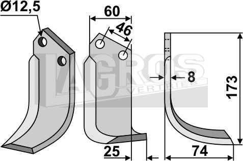 Schrägbogenmesser RS 173x75 für BCS Fräsen