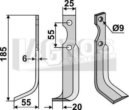 Schrägbogenmesser, Montage links für BCS Fräse 715