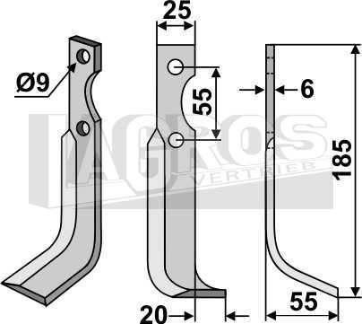 Schrägbogenmesser, Montage rechts für BCS Fräse 715