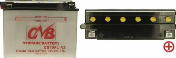 12 V Batterie DIN 51616, 16 Ah / 200 A, +Pol = rechts, Entlüftung links, hohe Startleistung