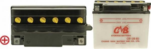 12 V Batterie DIN 51212, 12 Ah / 165 A, +Pol = links, Entlüftung rechts, hohe Startleistung