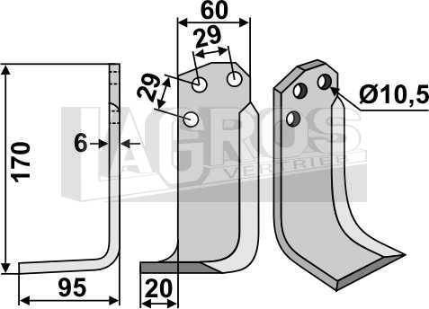 Winkelmesser LS 170x95x20 für Agria Fräsen