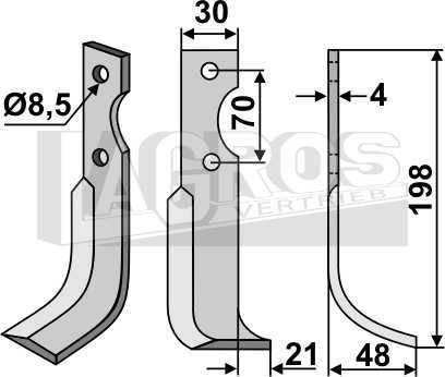 Fräsmesser RS 198x48 für Agria Fräsen