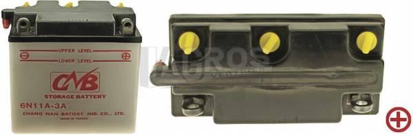 6 V Batterie DIN 01214, 11 Ah, +Pol = rechts, Entlüftung links für Simson Roller/ Motorrad MZ, TS 150, TS 250, 551