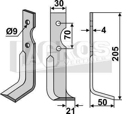 Fräsmesser RS 205x60 für Agria Fräsen