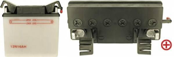 12 V Batterie, 16 Ah / 170 A, +Pol = rechts, mit Flachpol, für MTD u. a.