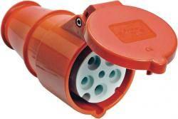 CEE-Kupplung (5polig / 380V / 32A) mit Kabelknickschutz, IP44 spritzwassergeschützt