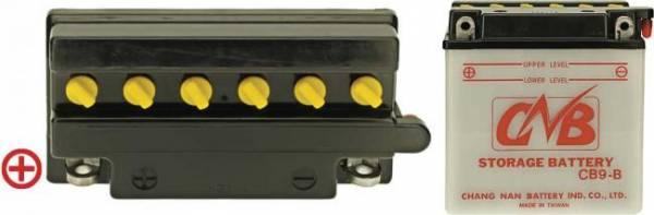 12 V Batterie, 9 Ah / 130 A, +Pol = links, hohe Startleistung, Entlüftung rechts Pole flach mit Verschraubung, für kleine Aufsitzmäher, Qualität CB9-B