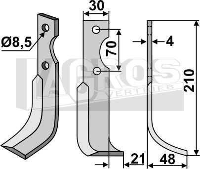 Fräsmesser RS 210x48 für Agria Fräsen