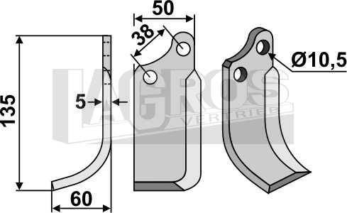 Spatenmesser kurze Ausf. Montage links für Agria Motorhacken