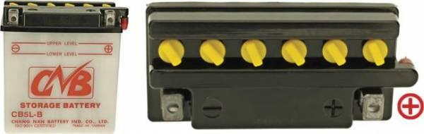 12 V Batterie, 5 Ah / 65 A, +Pol = rechts, CB 5 L-B, Entlüftung rechts, für Yamaha, Garelli, Honda