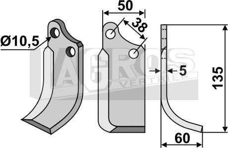 Spatenmesser für Agria, kurze Ausf. Montage rechts für Agria Fräsen