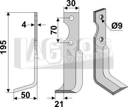 Bogenmesser LS 130x56 für BCS Fräsen